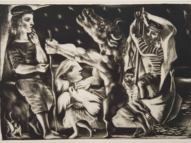 Pablo Picasso Minotaure aveugle guidé par Marie-Thérèse au pigeon dans une nuit étoilée Suite Vollard, 97