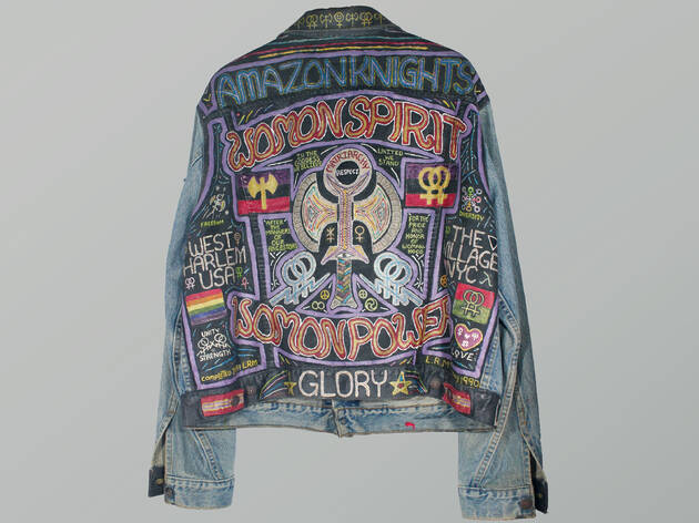 Linda McKinney, WomonSpirit Jacket, 1989–1991, Embroidered and painted denim, The Lesbian Herstory Archives. Photograph by Colette Montoya-Humphrey