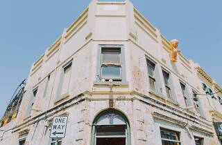 The exterior of Bimbo on Brunswick St, complete with kewpie doll