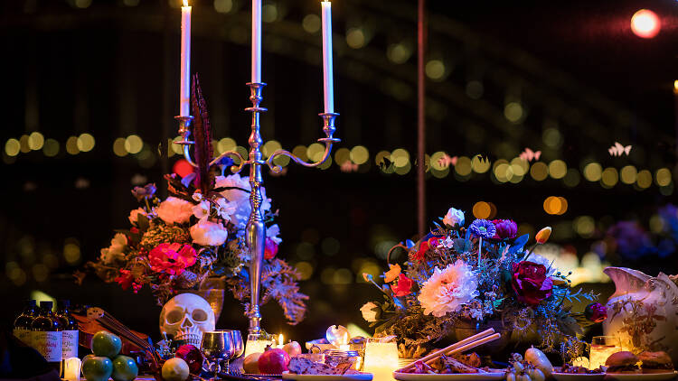 VIVID bar with flowers, candles and skulls