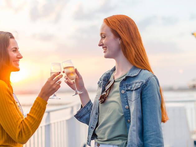 Friends cheersing on deck of the Spirit of Tasmania