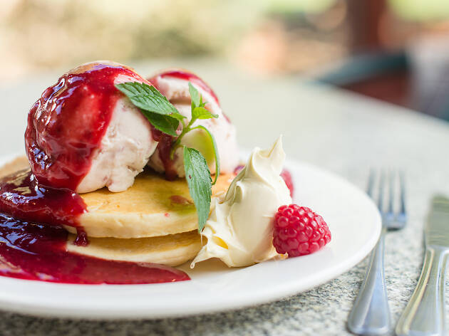 Raspberry pancakes at Christmas Hills Raspberry Farm Tasmania