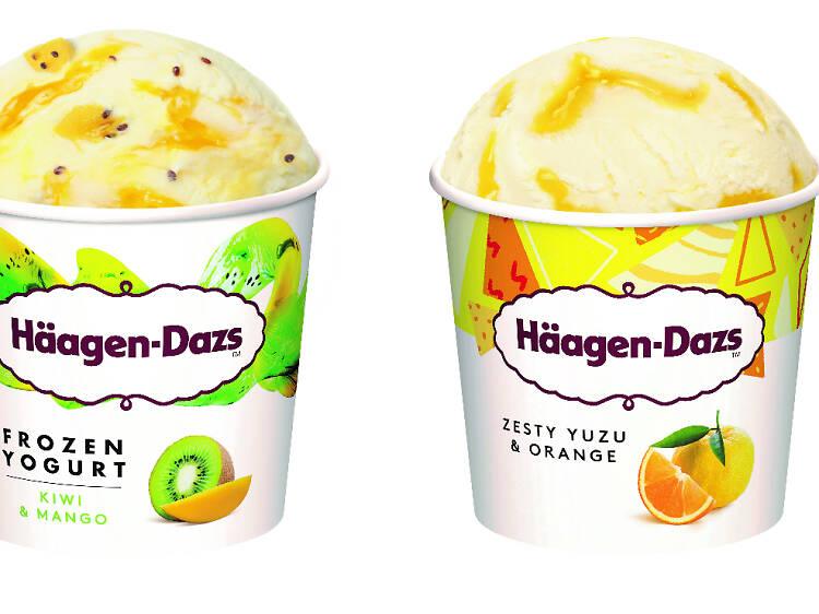Haagen-Dazs Yuzu and Citrus Ice Cream & Kiwi and Mango Frozen Yoghurt