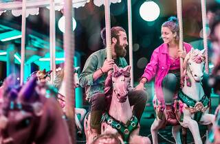 Dating couple on a carousel