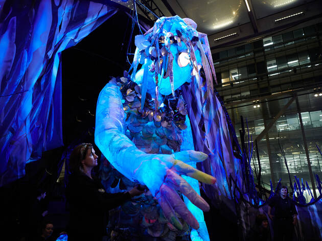"Marri Dyin, ""great woman"", a six-metre tall puppet that lights up for Vivid Sydney"