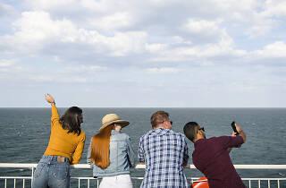 Spirit of Tasmania travellers on deck EDITED