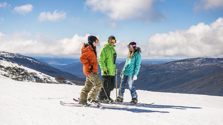 Friends skiing at Thredbo in the Snowy Mountains.