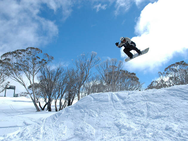 A snowboarder masters a jump at Selwyn Snowfields