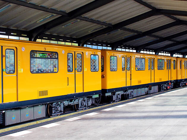 An S-Bahn train at a station in Berlin