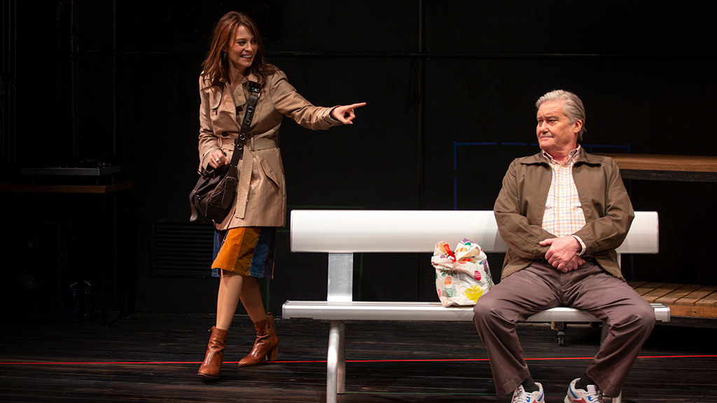 Actors on stage in a play at  Heisenberg at Melbourne Theatre Co