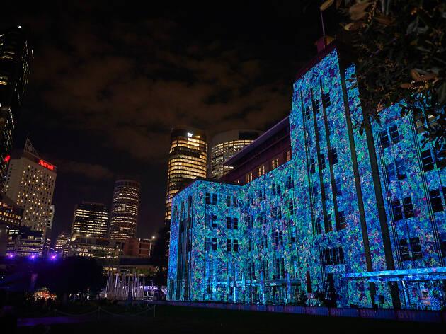 Vivid Light 2019 installation on Customs House.
