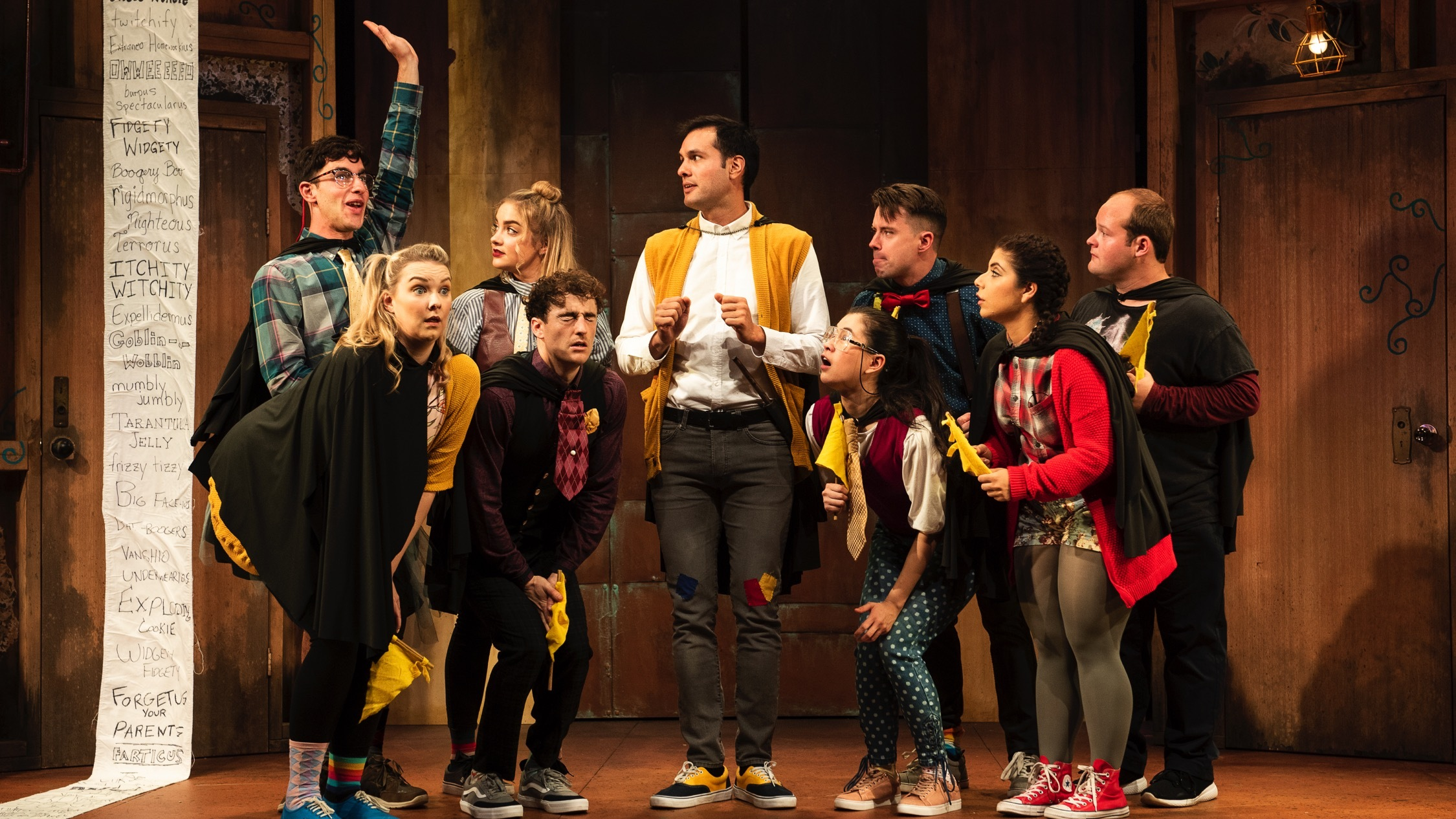 Actors onstage in production of Puffs