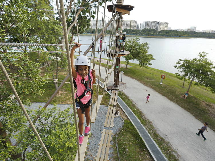 Take on an obstacle course at Forest Adventure