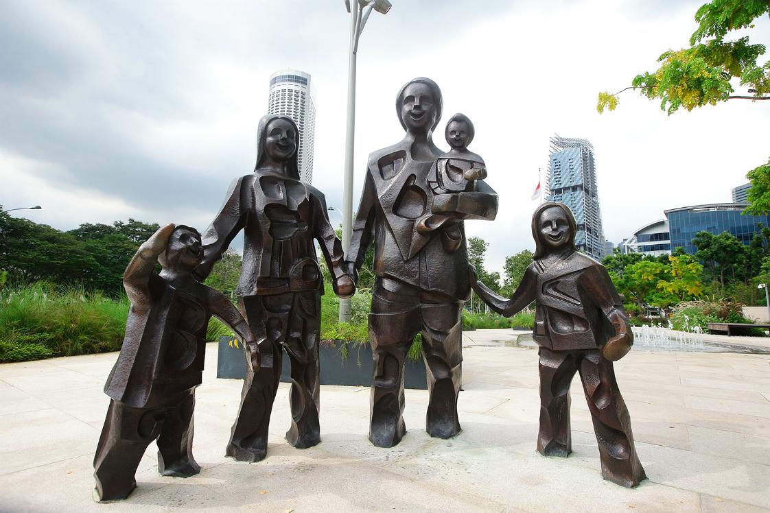esplanade, happy family of five, Chua Boon Kee, public art