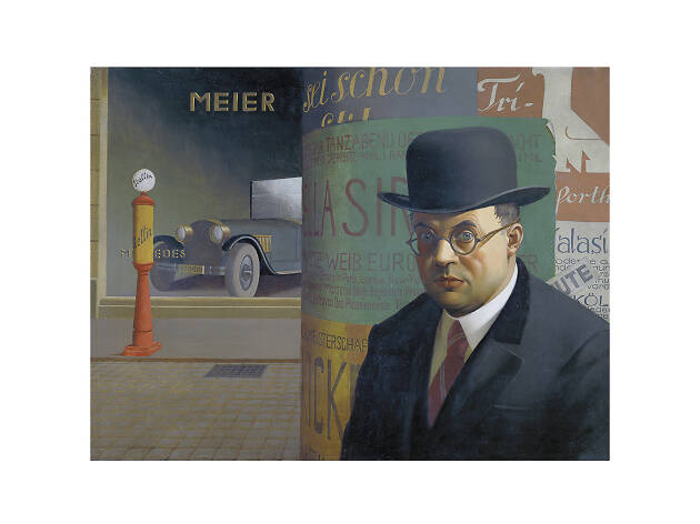 Georg Scholz, Self-Portrait in front of an Advertising Column, 1926
