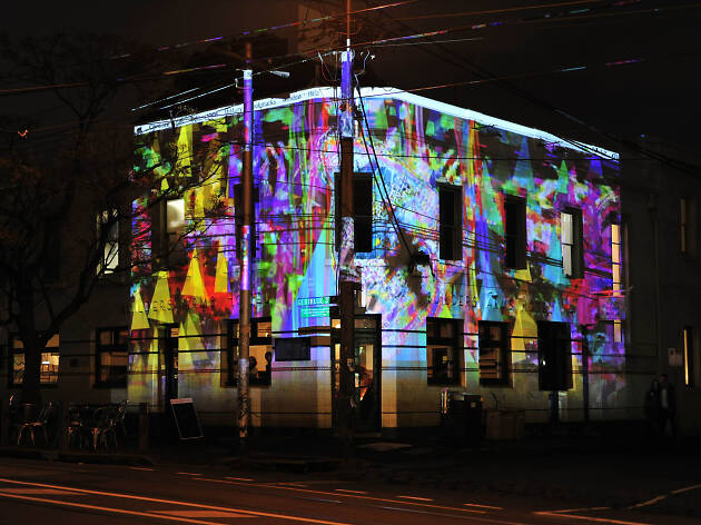 Builders Arms Hotel lit up during Gertrude Street Projection Festival