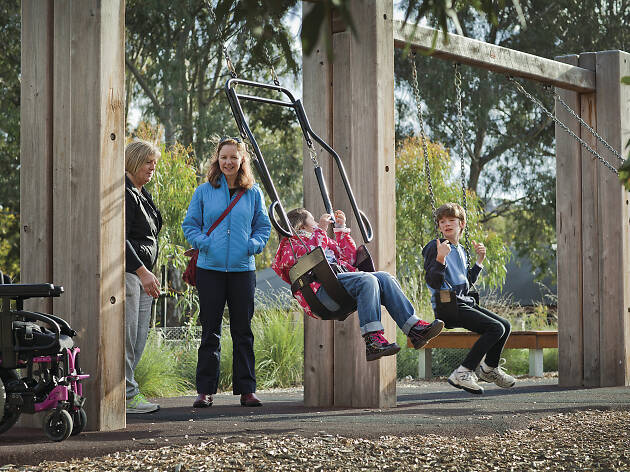 Children swinging at Brimbank Park