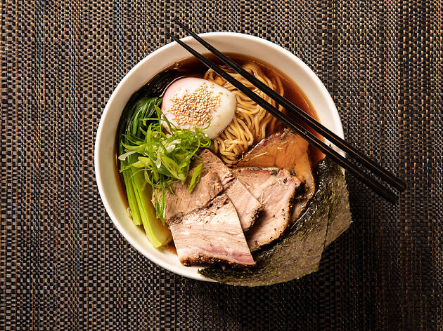 A bowl of smoked brisket ramen