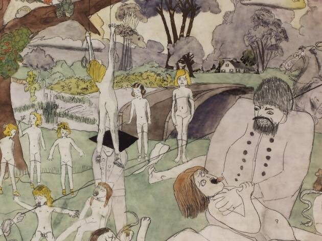 "Henry Darger ""Untitled"", c. 1940-1950. Graphite, carbon, watercolor and pencil on paper, 19 x 24 in. (48.26 x 60.96 cm). Collection of Robert A. Roth."