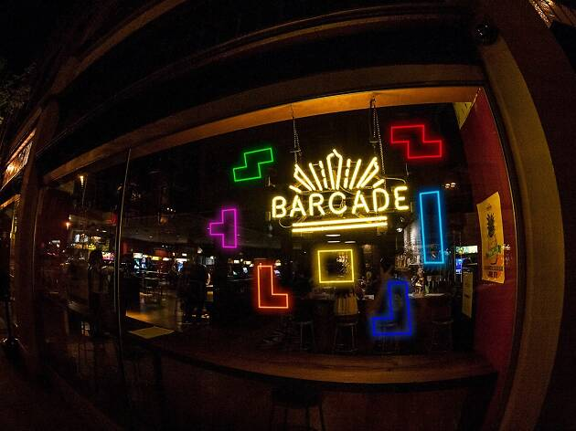 Barcade gaming arcade bar in Highland Park on York Boulevard in Los Angeles