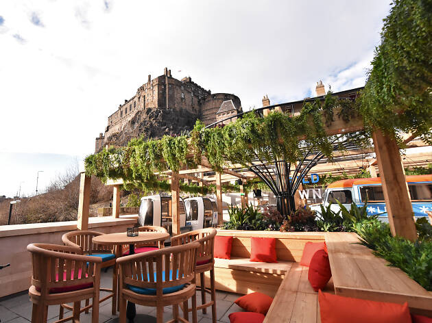 A view of Edinburgh Castle from the Cold Town House bar