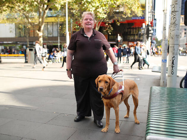 Margaret Shanahan and her guide dog in the CBD