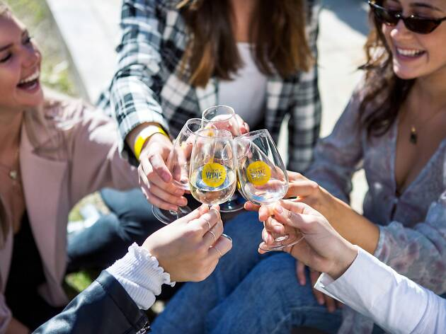 People drinking wine at the Hunter Valley Wine Festival.