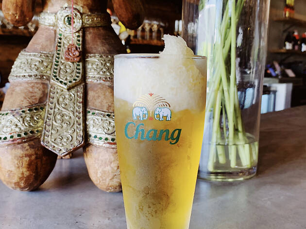 Frozen beer at Chao Krung in Los Angeles