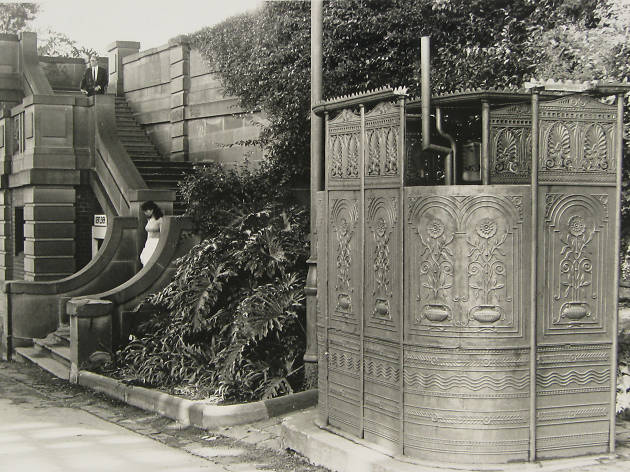 Image of the Victorian public urinal under the Sydney Harbour Bridge at the Rocks taken in the 1980s..