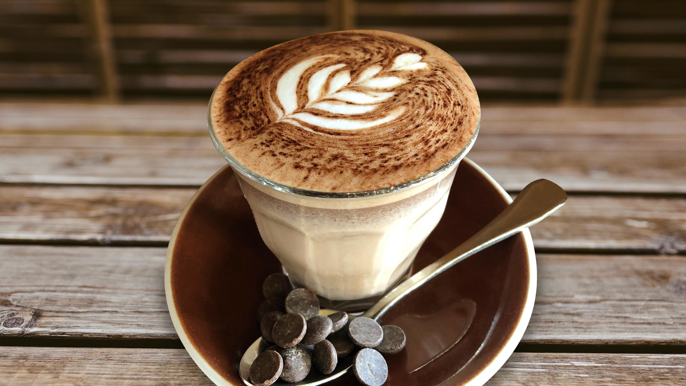 A hot chocolate in a glass