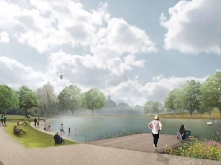 Swimming lake at Beckenham Place Park