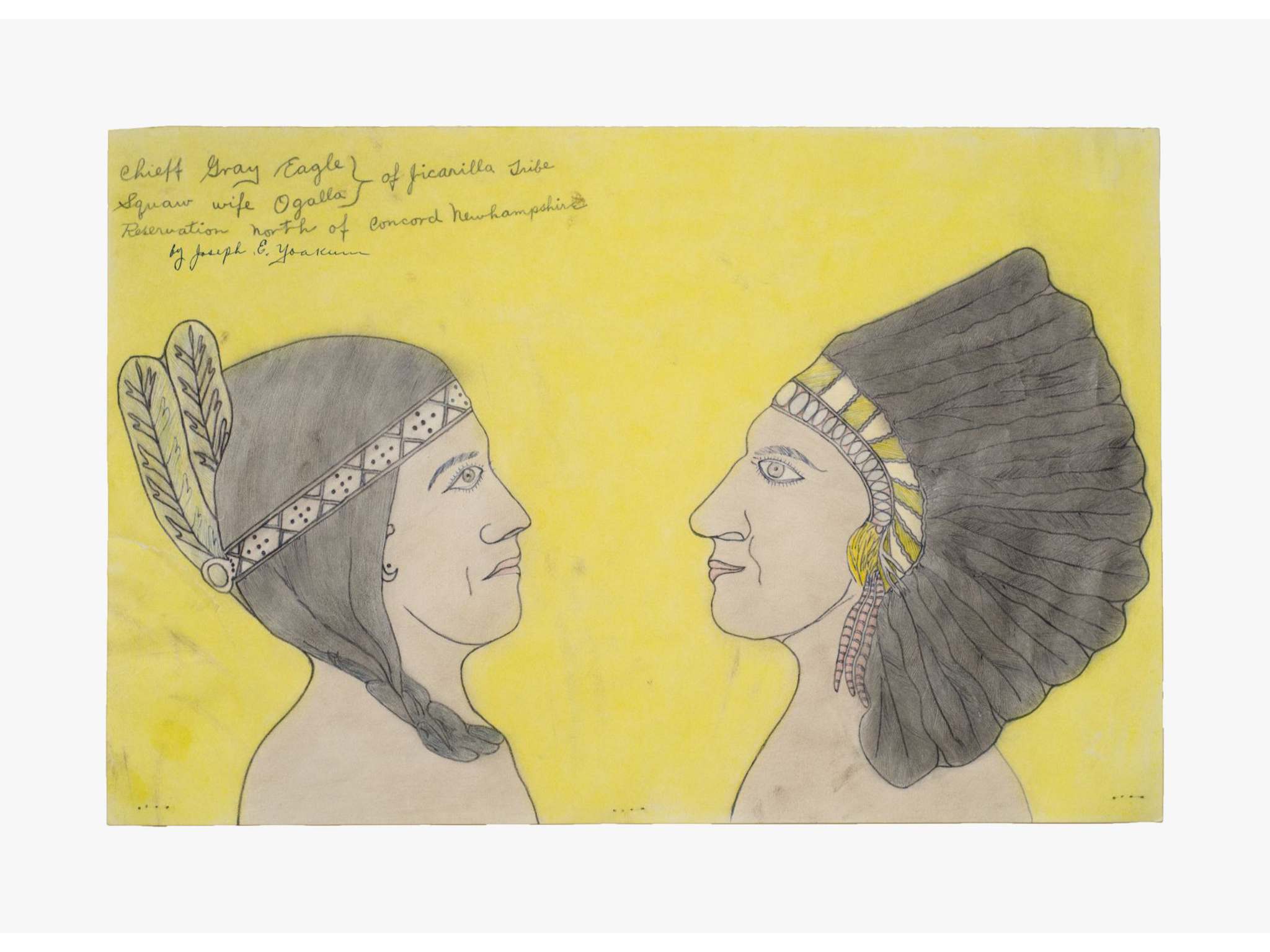 Joseph Elmer Yoakum, Chieff Gray Eagle Squaw wife Ogalla of Jicarilla Tribe Reservation of Concord New Hampshire, n.d.