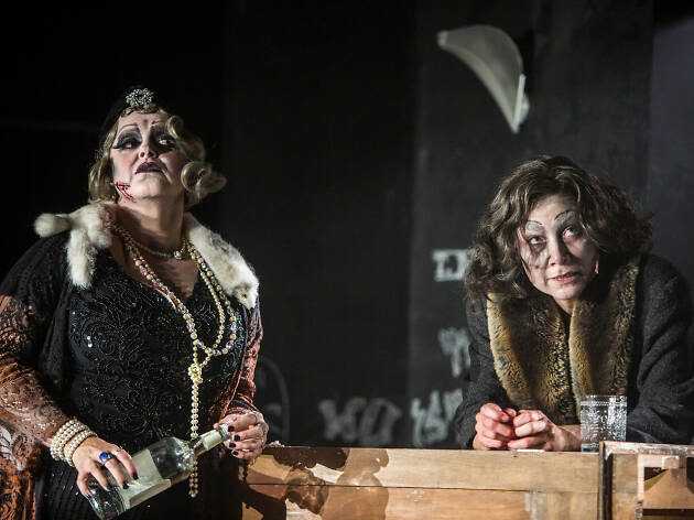 Two women dressed in elaborate make-up as part of the Razorhurst play.