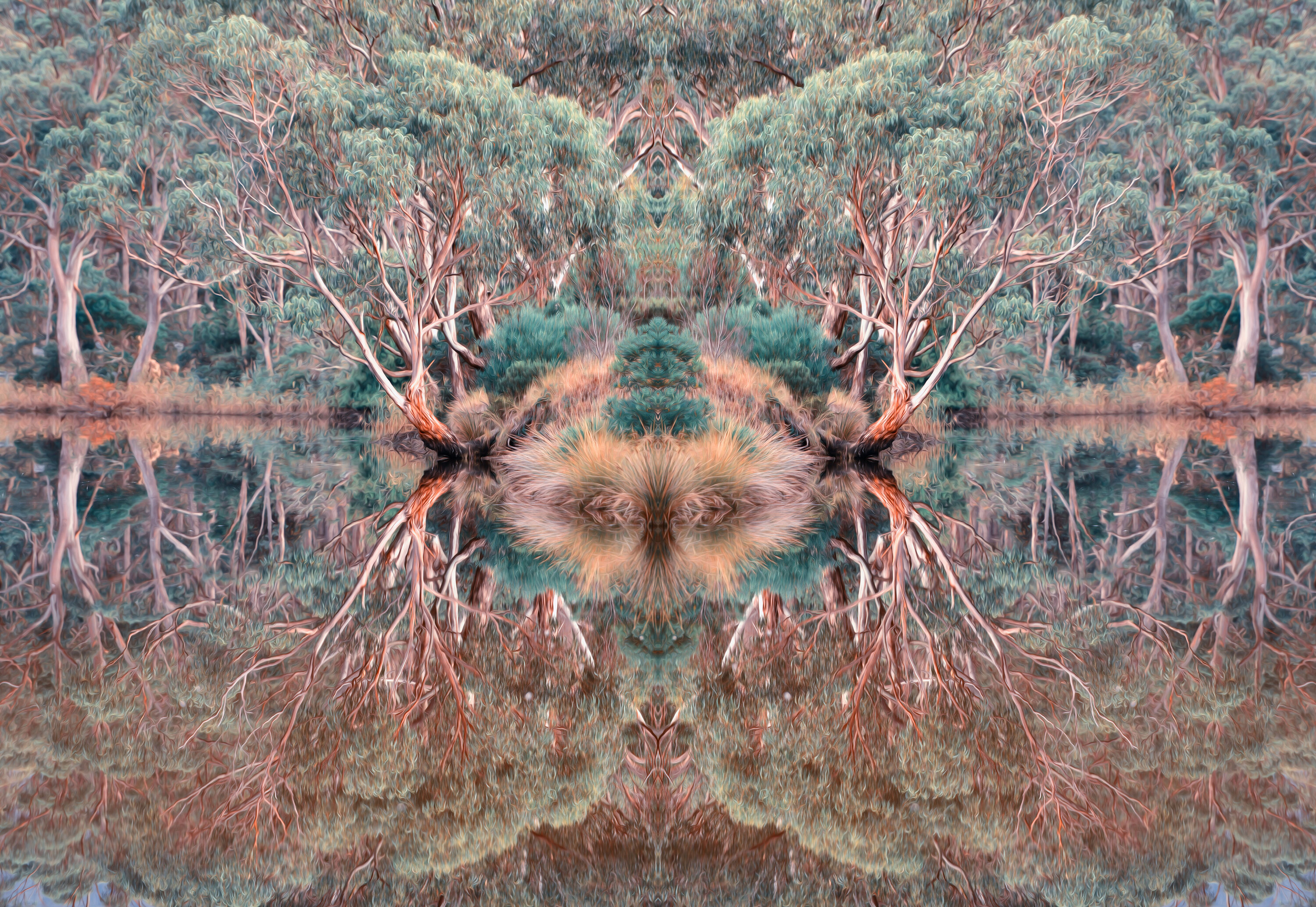Digital artwork by Indigenous artists Wayne Quilliam, featuring a reflective pool and gum trees.