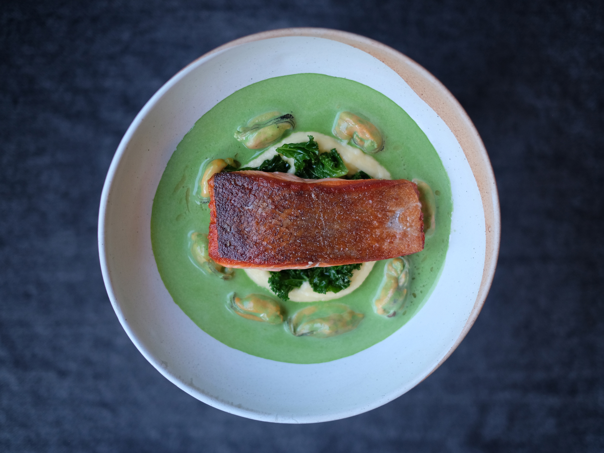 A main course of salmon at the Little Chartroom
