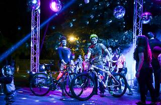 Bike riders and their bikes at the silent disco stage at the Sydney Rides festival.
