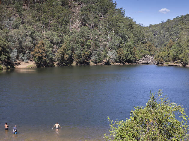 People swimming at Bents Basin.