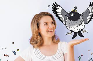 Justine Clarke with an animated magpie.