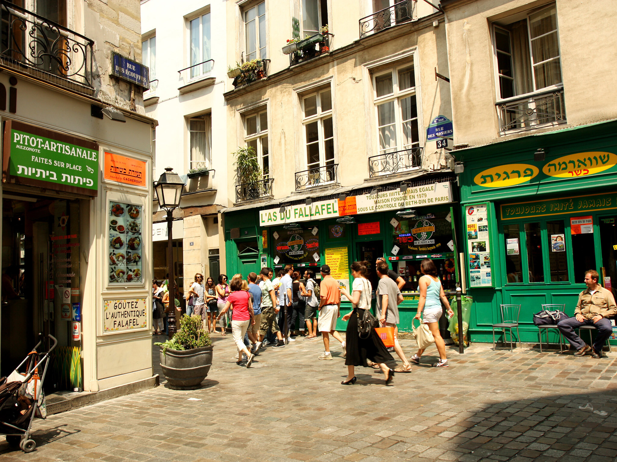 Outside the legendary As du Fallafel in the Marais in Paris
