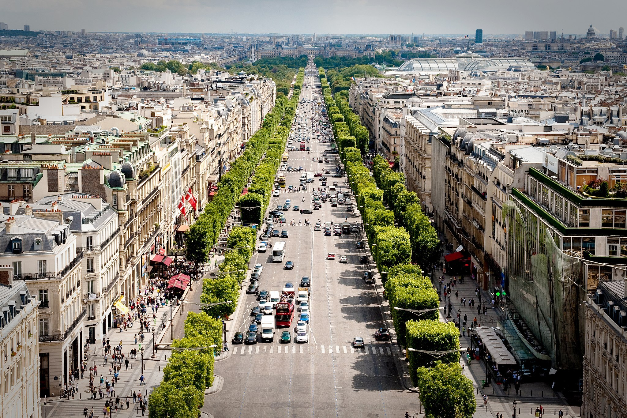 The Champs-Élysées seen from above