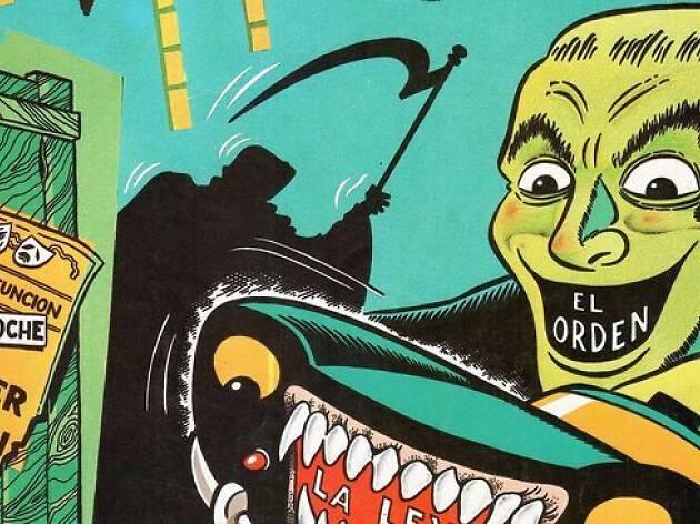 Disseny a partir d'un detall de la il·lustració de Martí Riera per a la coberta d'El Víbora, núm. 35, Ediciones La Cúpula
