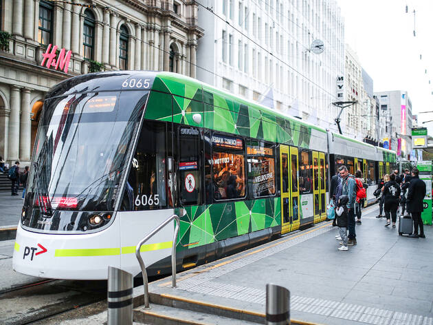 Tram outside of H&M Melbourne