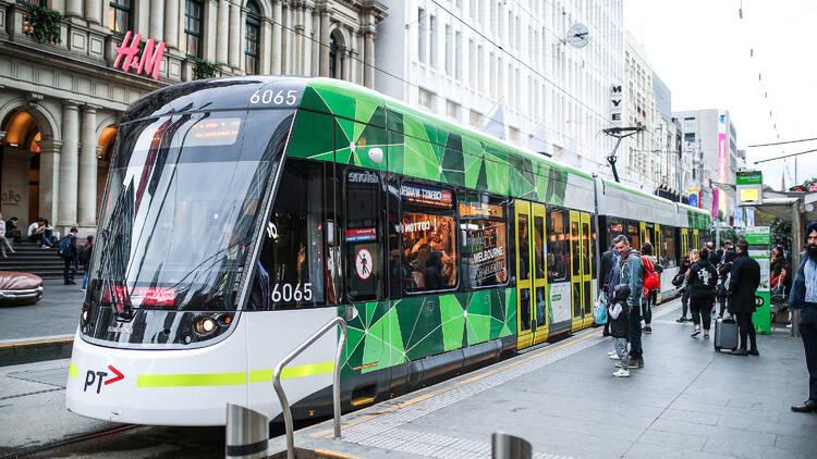 Tram outside of H&M Melbourne