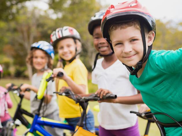 Shot of kids on bikes