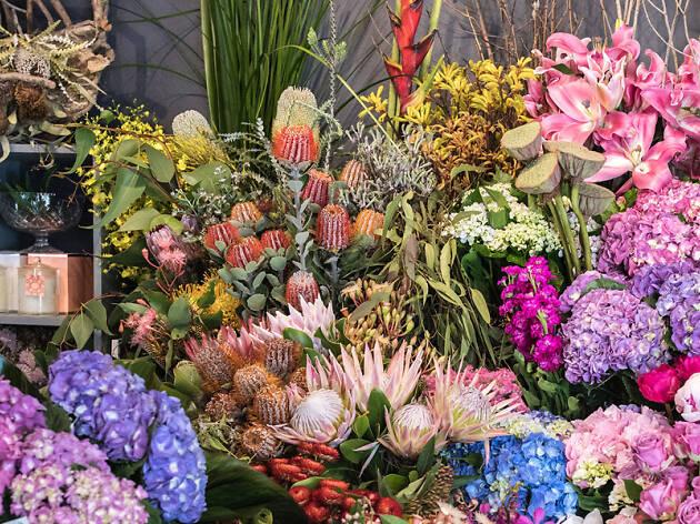 Selection of pink, purple, blue flower arrangements in a florist
