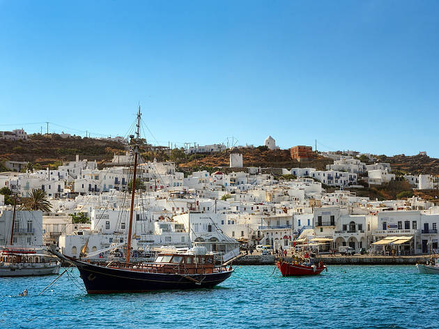 Ships in Mykonos harbour