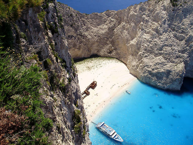 Looking down at Shipwreck Beach in Zante