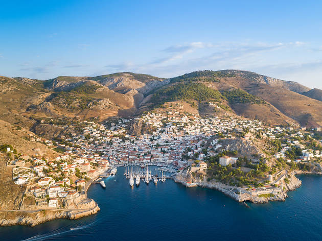 An aerial view of Hydra in Grecece