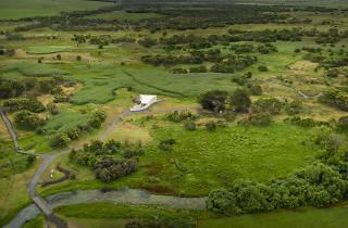 Drone shot of green landscape of Budj Bim
