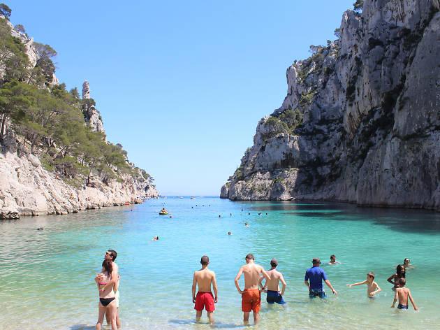 Swimmers in En Vau cove near Marseille
